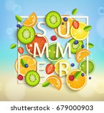 summer background with tropical ... | Shutterstock . vector #679000903