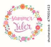 summer viber lettering in... | Shutterstock . vector #679001413