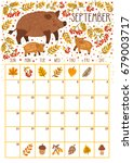 vector monthly calendar with... | Shutterstock .eps vector #679003717