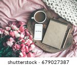 wooden tray with paper... | Shutterstock . vector #679027387