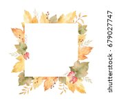 watercolor square frame of... | Shutterstock . vector #679027747