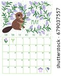 vector monthly calendar with... | Shutterstock .eps vector #679037557