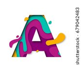 Paper cut letter A. Realistic 3D multi layers papercut effect isolated on white background. Colorful character of alphabet letter font. Decoration origami element for birthday or greeting design | Shutterstock vector #679042483