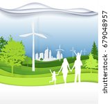 family and green city for  life.... | Shutterstock .eps vector #679048957