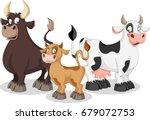 Cartoon Cow  Calf And Bull. Co...