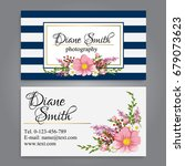 floral style business card... | Shutterstock .eps vector #679073623