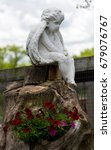White Stone Angel Statue On A...