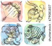 zodiac icons. set. watercolor.... | Shutterstock . vector #679081837