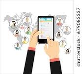 social network  concept. flat... | Shutterstock . vector #679083337