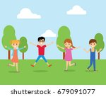 happy children of girls and... | Shutterstock .eps vector #679091077