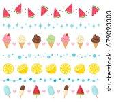 summer dessert elements border... | Shutterstock .eps vector #679093303