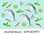 top view of raw mackerel fish...   Shutterstock . vector #679102957