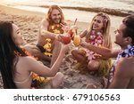cheers  group of young... | Shutterstock . vector #679106563