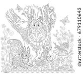 coloring book page of forest... | Shutterstock .eps vector #679110643