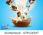 oat flakes with chopped... | Shutterstock .eps vector #679116547