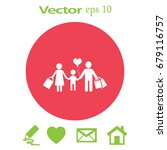 flat icon. a happy family is...   Shutterstock .eps vector #679116757