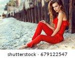 portrait of a charming elegant... | Shutterstock . vector #679122547