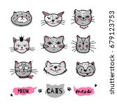 cats faces  hand drawn doodle... | Shutterstock .eps vector #679123753