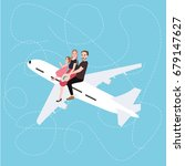 family sitting above on plane...   Shutterstock .eps vector #679147627