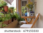 urban terrace with flowers.... | Shutterstock . vector #679153333