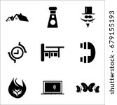 Set Of 9 Mixed Icons Such As...
