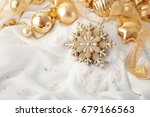 gold christmas ornaments ... | Shutterstock . vector #679166563