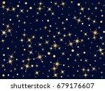 starburst vector  gold stars on ... | Shutterstock .eps vector #679176607