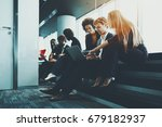group of three business... | Shutterstock . vector #679182937