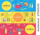 thin line makeup tools modern... | Shutterstock .eps vector #679203103