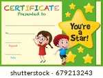 certificate template with kids... | Shutterstock .eps vector #679213243