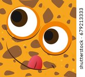 funny face on brown background... | Shutterstock .eps vector #679213333