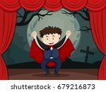 stage play with boy in vampire... | Shutterstock .eps vector #679216873