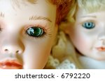 Closeup Of Two Porcelain Dolls