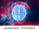 3d rendering of human  brain on ... | Shutterstock . vector #679223623