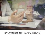 business  playing phone and... | Shutterstock . vector #679248643