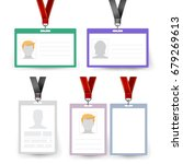 id badge set. name tag.... | Shutterstock . vector #679269613