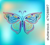 stylized fly butterfly.... | Shutterstock . vector #679288897