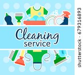 cleaning service flat... | Shutterstock .eps vector #679316893