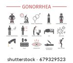 gonorrhea flat icons set.... | Shutterstock .eps vector #679329523
