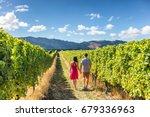 vineyard couple tourists new... | Shutterstock . vector #679336963