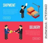 delivery and shipment isometric ... | Shutterstock .eps vector #679354663