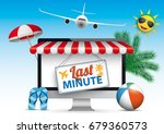 monitor with red marquee  jet ... | Shutterstock .eps vector #679360573