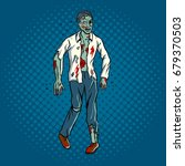 walking zombie pop art retro... | Shutterstock .eps vector #679370503