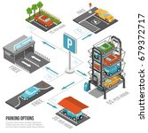 car parking composition with... | Shutterstock .eps vector #679372717