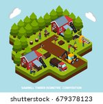 timber production isometric... | Shutterstock .eps vector #679378123
