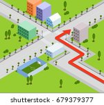 red road map pin pointer with... | Shutterstock .eps vector #679379377