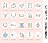 jewelry flat line icons ... | Shutterstock .eps vector #679383997