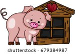 cute pig with little wood house | Shutterstock .eps vector #679384987