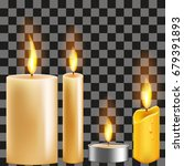 Set Of Realistic Candles With...