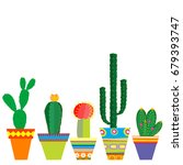 mexico style pots with cactus... | Shutterstock . vector #679393747